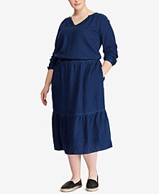 Lauren Ralph Lauren Plus Size Linen Cotton Dress