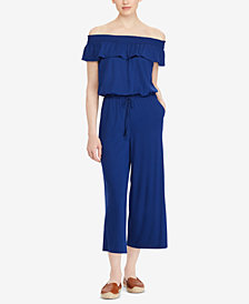 Lauren Ralph Lauren Off-The-Shoulder Wide-Leg Jumpsuit