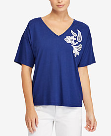 Lauren Ralph Lauren Lace-Embroidered Jersey Top