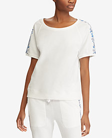 Lauren Ralph Lauren Embroidered French Terry Cotton Top