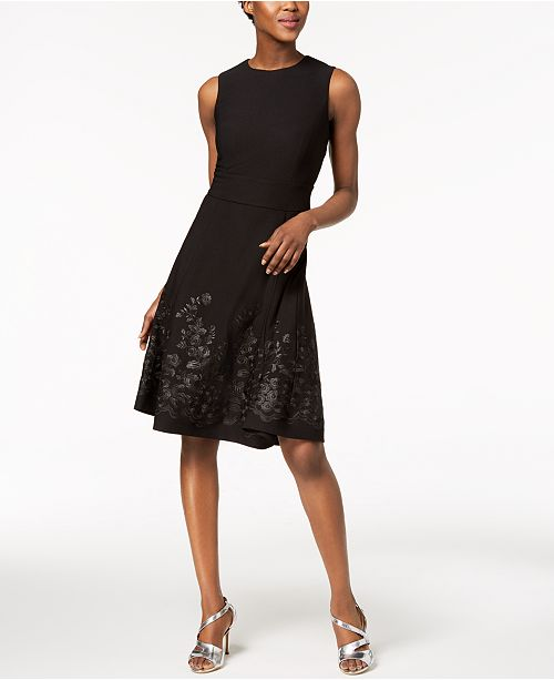 d533c485 Calvin Klein Petite Embroidered Fit & Flare Dress & Reviews ...