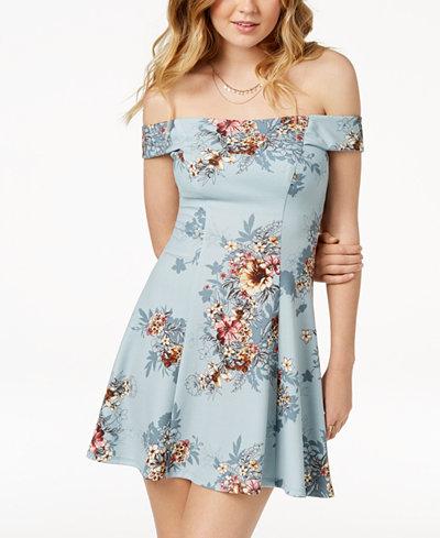Teeze Me Juniors' Off-The-Shoulder A-Line Dress