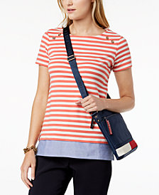 Tommy Hilfiger Cotton Mixed-Media Top, Created for Macy's