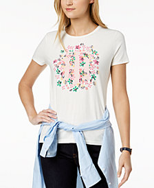 Tommy Hilfiger Floral-Graphic Logo T-Shirt, Created for Macy's