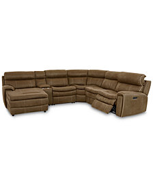 CLOSEOUT! Leilany 6-Pc. Fabric Chaise Sectional Sofa with 1 Power Recliner, Power Headrests, Console and USB Power Outlet