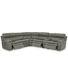 Leilany 6-Pc. Fabric Sectional Sofa with 3 Power Recliners, Power Headrests, Console and USB Power Outlet