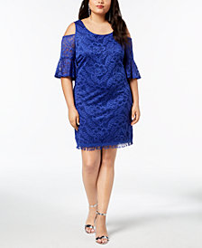 City Studios Trendy Plus Size Lace Cold-Shoulder Fringed Dress