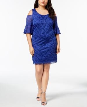 City Studios Trendy Plus Size Lace Cold-Shoulder Fringed Dress