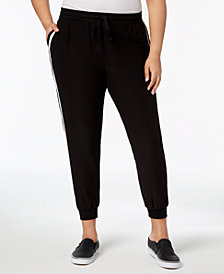 Planet Gold Trendy Plus Size Side-Striped Jogger Pants