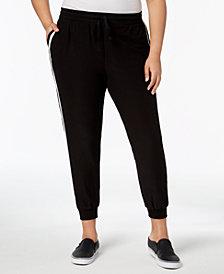 Planet Gold Trendy Plus Size Side-Striped Jogger Pants