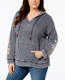Style & Co Plus Size Embroidered Hoodie, Created for Macy's