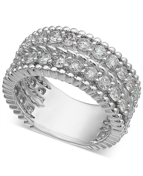 Macy's Diamond Rope-Style Two-Row Statement Ring (2-1/2 ct. t.w.)