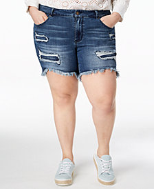 WILLIAM RAST Plus Size Distressed Raw-Hem Bermuda Shorts