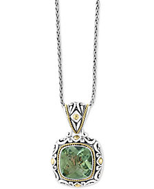 "Balissima by EFFY® Green Amethyst 18"" Pendant Necklace (5-9/10 ct. t.w.) in Sterling Silver & 18k Gold"