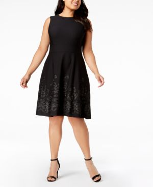 PLUS SIZE EMBROIDERED-BORDER FIT & FLARE DRESS