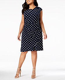 Connected Plus Size Polka-Dot Draped Sheath Dress