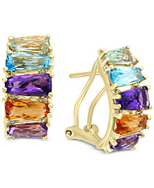 Mosaic by EFFY® Multi-Gemstone (5-1/2 ct. t.w.) & Diamond Accent Hoop Earrings 14k Gold
