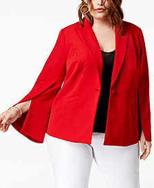 I.N.C. Plus Size Split-Sleeve Blazer, Created for Macy's