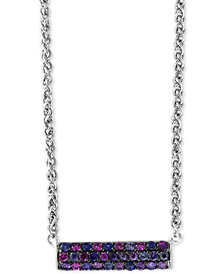 "Splash by EFFY® Purple Sapphire Horizontal Bar 18"" Pendant Necklace (1 ct. t.w.) in Sterling Silver"