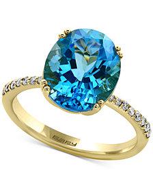 EFFY® Blue Topaz (5-9/10 ct. t.w.) & Diamond (1/8 ct. t.w.) Ring in 14k Gold