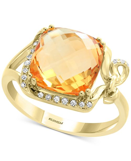 EFFY Collection EFFY® Citrine (3-1/8 ct. t.w.) & Diamond (1/10 ct. t.w.) Ring in 14k Gold