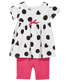First Impressions Dot-Print Tunic & Bermuda Shorts Separates, Baby Girls, Created for Macy's