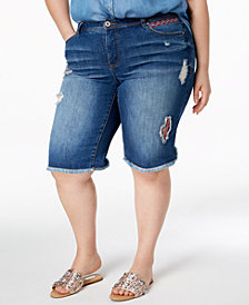 I.N.C. Plus Size Ripped Denim Shorts, Created for Macy's