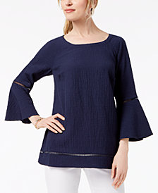 JM Collection Textured Bell-Sleeve Top, Created for Macy's