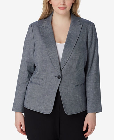 Tahari ASL Plus Size One-Button End-On-End Twill Jacket