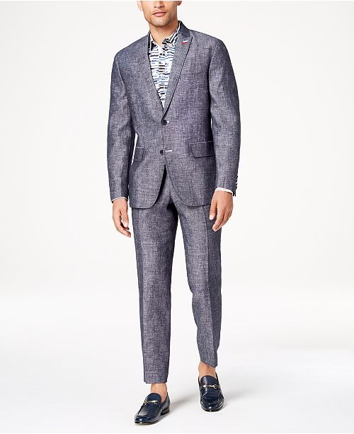 INC International Concepts I.N.C. Men's Slim-Fit Textured Linen Suit Separates, Created for Macy's