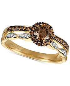 Le Vian Chocolatier® Diamond Two-Row Halo Ring (5/8 ct. t.w.) in 14k Gold