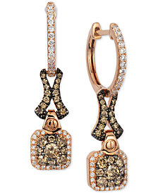 Le Vian Chocolatier® Diamond Cluster Drop Earrings (3/4 ct. t.w.) in 14k Rose Gold