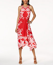 I.N.C. Petite Printed Handkerchief-Hem Halter Dress, Created for Macy's