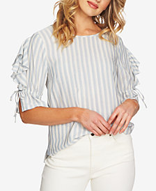 1.STATE Striped Tie-Sleeve Top