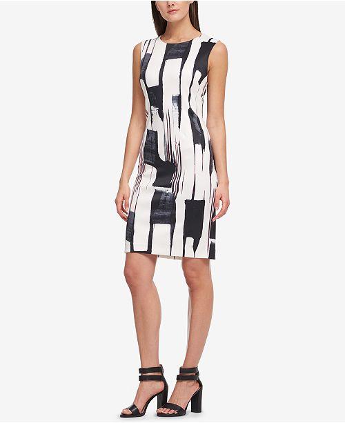 693a1c44431 ... DKNY Brushstroke-Print Sheath Dress