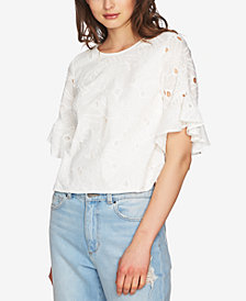 1.STATE Ruffled-Sleeve Eyelet Top
