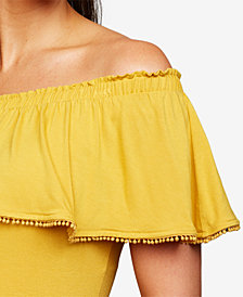 A Pea In The Pod Maternity Ruffled Off-The-Shoulder Blouse