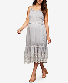 A Pea In The Pod Maternity Embroidered Midi Dress