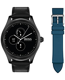 BOSS Hugo Boss Men's Digital Touch Black Leather Strap Touchscreen Smart Watch 46mm