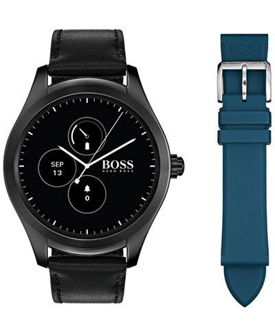 BOSS Hugo Boss Men's Digital Touch Black Leather Strap Touchscreen Smart Watch 46mm