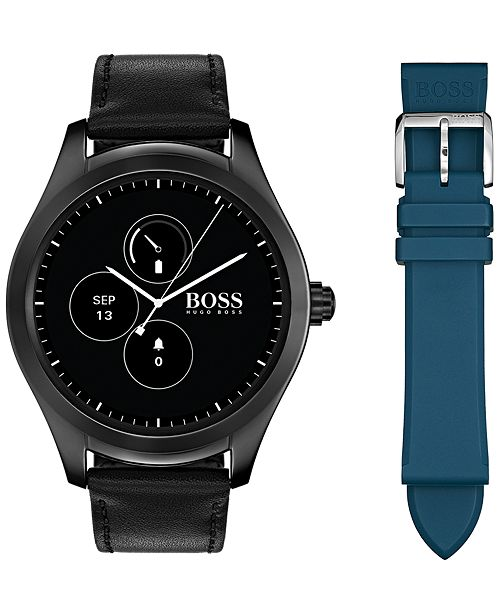 67f84a4e0 ... BOSS Hugo Boss Men's Digital Touch Black Leather Strap Touchscreen  Smart Watch ...