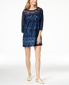 Free People Sun Daze Cotton Lace-Contrast Mini Dress