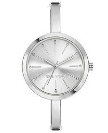Nine West Women's Silver-Tone Half-Bangle Bracelet Watch 34mm