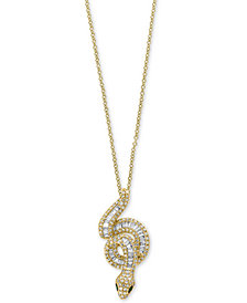 "Safari by EFFY® Diamond (3/4 ct. t.w.) & Tsavorite Accent Snake 18"" Pendant Necklace in 14k Gold"