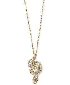 "Safari by EFFY® Diamond (3/4 ct. t.w.) & Tsavorite Accent Snake 18"" Pendant Necklace in 14k Gold"