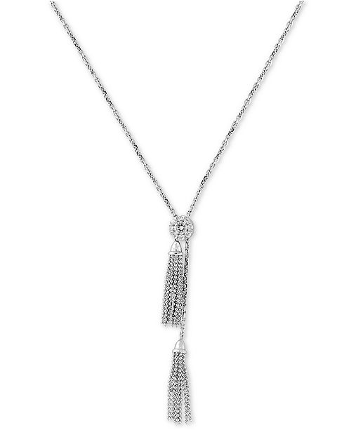 "EFFY Collection EFFY® Diamond Cluster Tassel 18"" Lariat Necklace (1/3 ct. t.w.) in 14k White Gold"