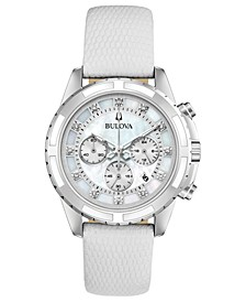 Women's Chronograph Diamond-Accent White Leather Strap Watch 36mm, Created for Macy's