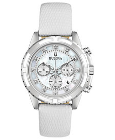 Bulova Women's Chronograph Diamond-Accent White Leather Strap Watch 36mm, Created for Macy's