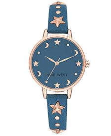 Nine West Women's Blue Studded Faux Leather Strap Watch 34mm
