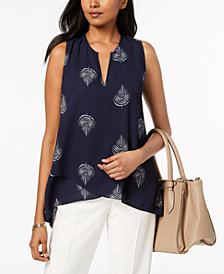 Alfani Petite Printed Crossover Top, Created for Macy's